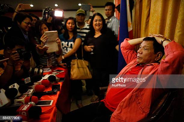 Incoming Philippine President Rodrigo Duterte is seen during his press conference dawn Thursday May 26 at the Royal Mandaya Hotel in the southern...