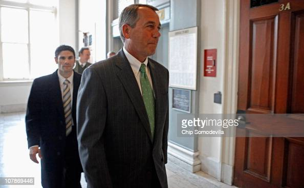 Incoming Speaker of the House John Boehner arrives for a House Republican caucus meeting in the Canon House Office Building January 4 2011 in...