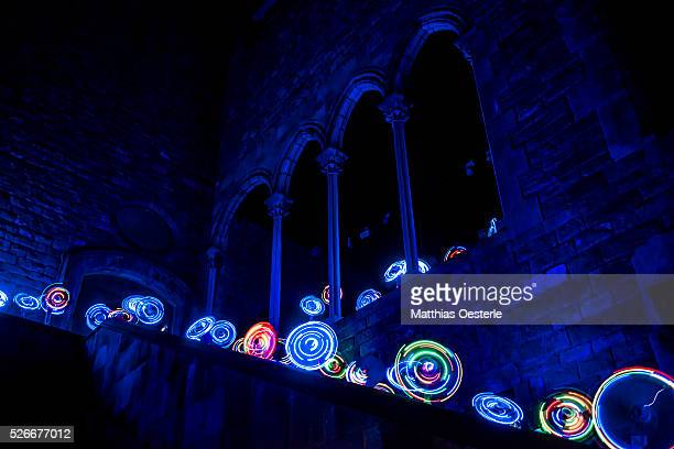 'Incomoditat sensorial' is a project placing illuminated ventilators in the inner courtyard of the 'Casa Padellas' during the city's light festival...