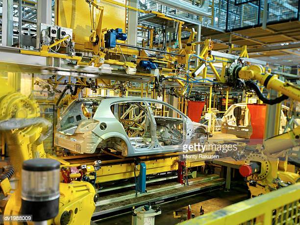 Incomplete Car Being Manufactured in a Factory