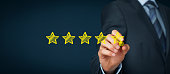 Increase rating, evaluation and classification concept. Businessman draw five yellow star to increase rating of his company. Wide banner composition.