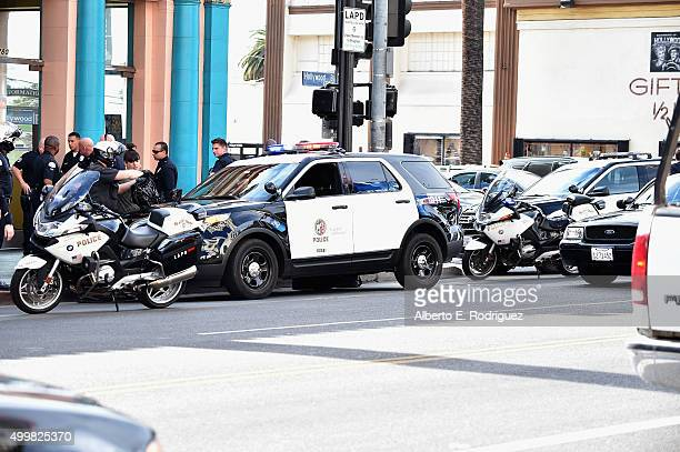 Increased police activity in Hollywood during a ceremony honoring actress Amy Poehler with the 2566th Star on the Hollywood Walk of Fame on December...