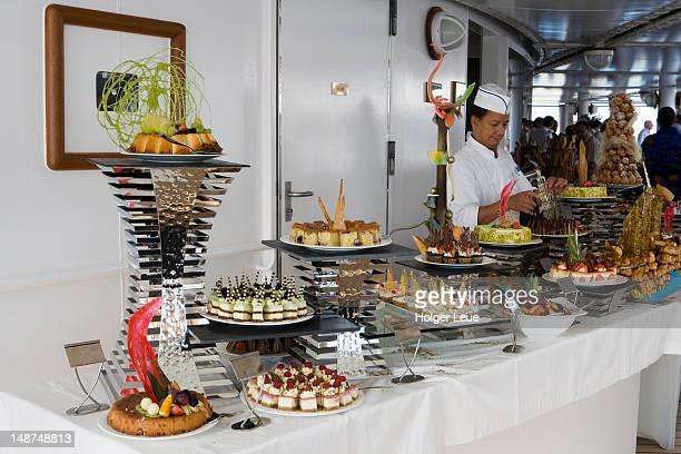 Incredible dessert buffet at pool deck barbecue aboard cruiseship Silver Spirit (Silversea Cruises).