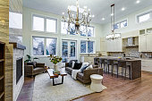 Incredible light and airy living room with high ceiling, Stone fireplace and large windows and stylish kitchen.