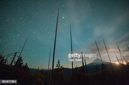 Incredible moonset and stars on Mt. Hood from the Hood River Valley : Stock Photo