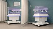 Incubator in hospital. 3D rendering