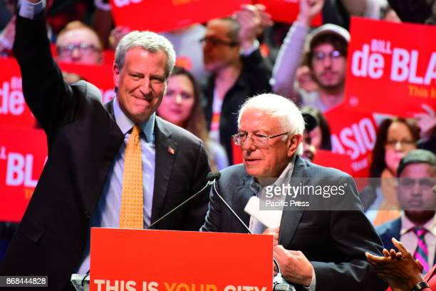 Incumbent NYC Mayor Bill de Blasio and US Senator from Vermont Bernie Sanders in a rally on Manhattan's West Side with speeches evoking the progress...