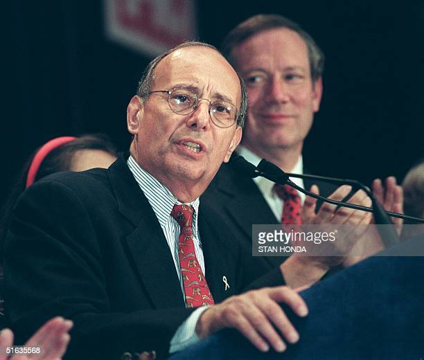 Incumbent Republican US Sen Alphonse D'Amato concedes defeat to Democratic challenger Charles Schumer in the New York senatorial race 03 November in...