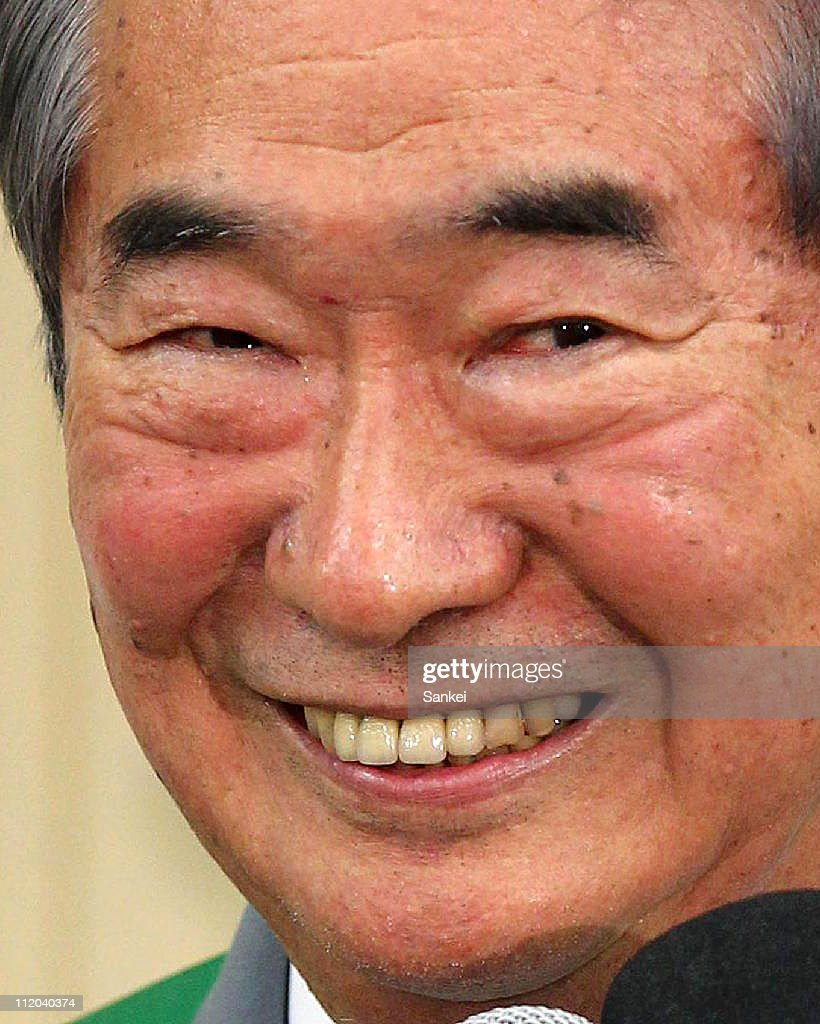 Incumbent Tokyo Governor <a gi-track='captionPersonalityLinkClicked' href=/galleries/search?phrase=Shintaro+Ishihara&family=editorial&specificpeople=665335 ng-click='$event.stopPropagation()'>Shintaro Ishihara</a> smiles during a press conference after winning the Tokyo Gubernatorial Election to secure the fourth term at his election campaign headquarters on April 10, 2011 in Tokyo, Japan.