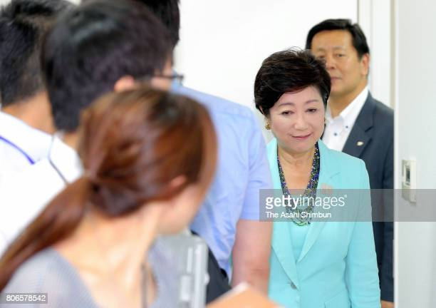 Incumbent Tokyo Metropolitan Governor and local party Tomin First no Kai leader Yuriko Koike speaks to media reporters on July 3 2017 in Tokyo Japan...