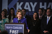 Incumbent US Sen Kay Hagan concedes as she speaks to supporters during her election night party November 4 2014 in Greensboro North Carolina Sen...
