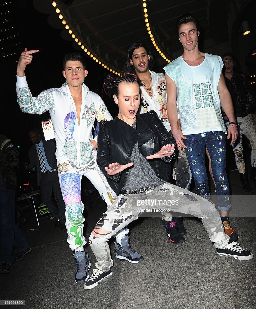Indashio poses with his models after the Indashio show during Fall 2013 Mercedes-Benz Fashion Week on February 13, 2013 in New York City.