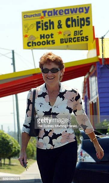 Independant candidate and Former One Nation leader Pauline Hanson after casting her vote at Churchill State Primary in Ipswich Queensland during the...