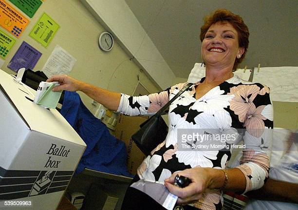 Independant candidate and Former One Nation leader Pauline Hanson casting her vote at Churchill State Primary in Ipswich Queensland during the 2004...