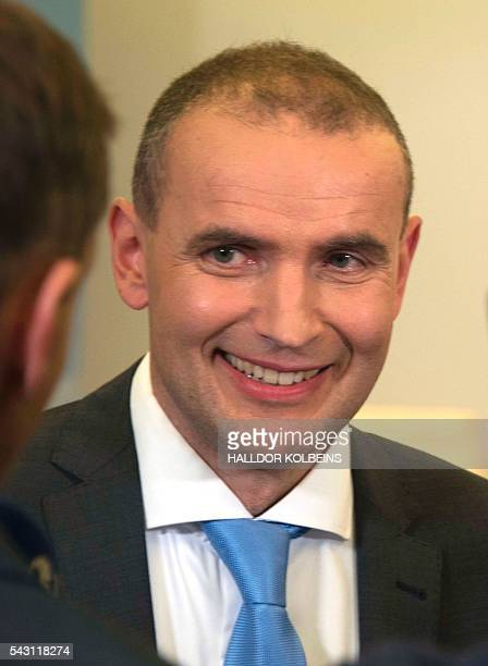 Independant presidential candidate Gudni Johannesson looks on at an election party in Reykjavik on June 25 2016 Political newcomer Gudni Johannesson...