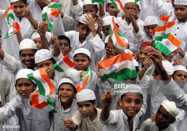 Independence Day Celebration Young boys from Chakala Madrassa Masjid Trust celebrates Independence Day at Andheri on Wednesday