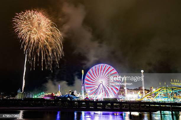 Independence Day fireworks explode over the San Diego County Fair on July 4 2015 in Del Mar California