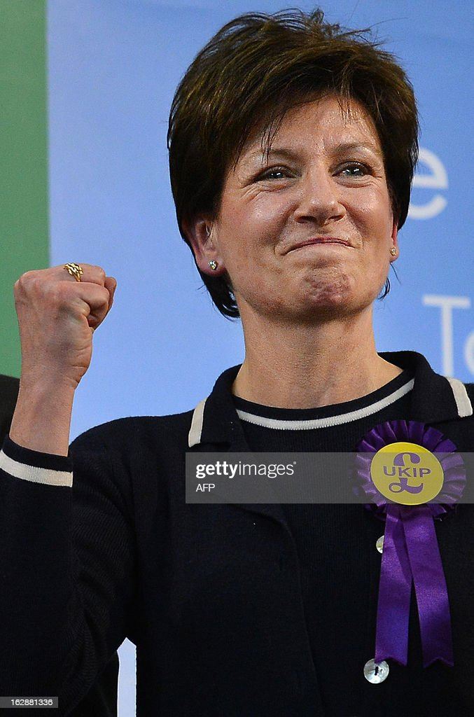 UK Independence Party candidate Diane James reacts after finishing second in the Eastleigh by-election in Eastleigh, Hampshire on March 1, 2013. Voters in the southern English town of Eastleigh went to the polls February 28, 2013 to elect a new member of parliament in a contest that threatens serious repercussions for Britain's main parties.