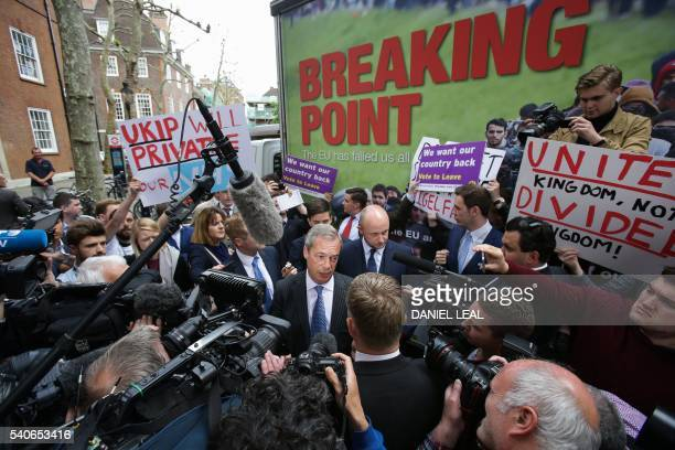 UK Independence Party Leader Nigel Farage addresses the media during a national poster launch campaign ahead of the EU referendum in London on June...