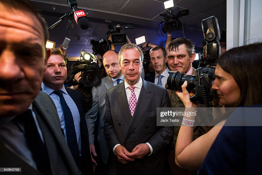 UK Independence Party Leader Nigel Farage arrives at the Leave.EU campaign's referendum party at Millbank Tower on June 23, 2016 in London, England. The United Kingdom has gone to the polls to decide whether or not the country wishes to remain within the European Union. After a hard fought campaign from both REMAIN and LEAVE the vote is too close to call. A result on the referendum is expected on Friday morning.