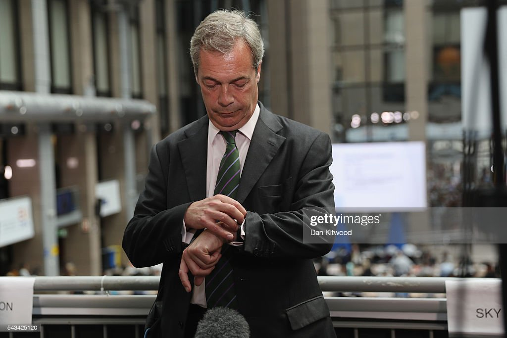 UK Independence Party (UKIP) leader Nigel Farage checks his watch as he prepares for the media as he attends a European Council Meeting at the Council of the European Union on June 28, 2016 in Brussels, Belgium. British Prime Minister David Cameron will hold talks with other EU leaders in what will likely be his final scheduled meeting with the full European Council before he stands down as Prime Minister. The meetings come at a time of economic and political uncertainty following the referendum result last week which saw the UK vote to leave the European Union.