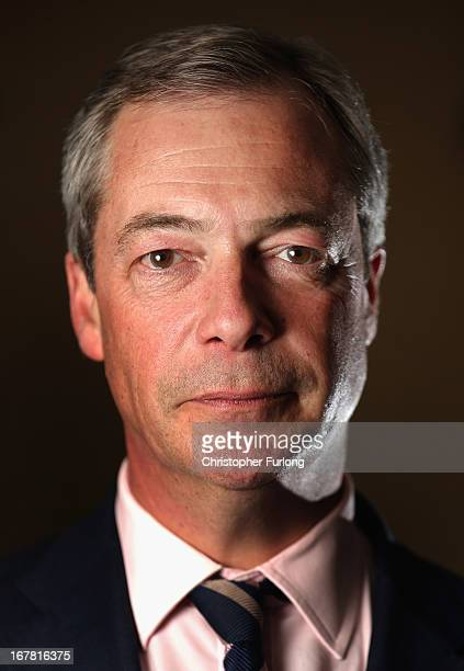 Independence Party Leader Nigel Farage poses for a portrait during campaigning for the local elections in the North East on April 30 2013 in South...
