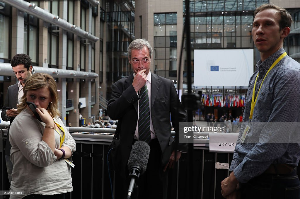 UK Independence Party (UKIP) leader <a gi-track='captionPersonalityLinkClicked' href=/galleries/search?phrase=Nigel+Farage&family=editorial&specificpeople=697991 ng-click='$event.stopPropagation()'>Nigel Farage</a> prepares for the media as he attends a European Council Meeting at the Council of the European Union on June 28, 2016 in Brussels, Belgium. British Prime Minister David Cameron will hold talks with other EU leaders in what will likely be his final scheduled meeting with the full European Council before he stands down as Prime Minister. The meetings come at a time of economic and political uncertainty following the referendum result last week which saw the UK vote to leave the European Union.