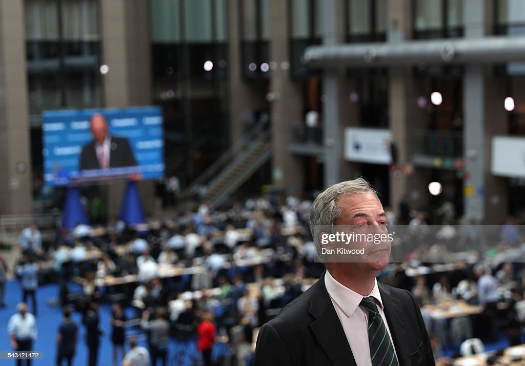 UK Independence Party (UKIP) leader Nigel Farage prepares for the media as he attends a European Council Meeting at the Council of the European Union on June 28, 2016 in Brussels, Belgium. British Prime Minister David Cameron will hold talks with other EU leaders in what will likely be his final scheduled meeting with the full European Council before he stands down as Prime Minister. The meetings come at a time of economic and political uncertainty following the referendum result last week which saw the UK vote to leave the European Union.