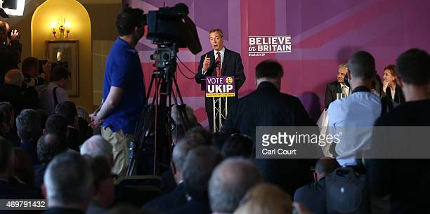 Independence Party leader Nigel Farage speaks during the launch of his party's election manifesto on April 15 2015 in Thurrock England The party's...