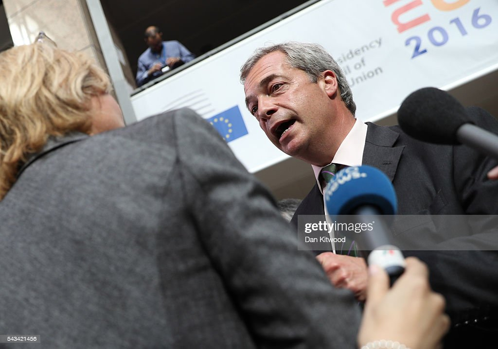 UK Independence Party (UKIP) leader <a gi-track='captionPersonalityLinkClicked' href=/galleries/search?phrase=Nigel+Farage&family=editorial&specificpeople=697991 ng-click='$event.stopPropagation()'>Nigel Farage</a> speaks to the media as he attends a European Council Meeting at the Council of the European Union on June 28, 2016 in Brussels, Belgium. British Prime Minister David Cameron will hold talks with other EU leaders in what will likely be his final scheduled meeting with the full European Council before he stands down as Prime Minister. The meetings come at a time of economic and political uncertainty following the referendum result last week which saw the UK vote to leave the European Union.