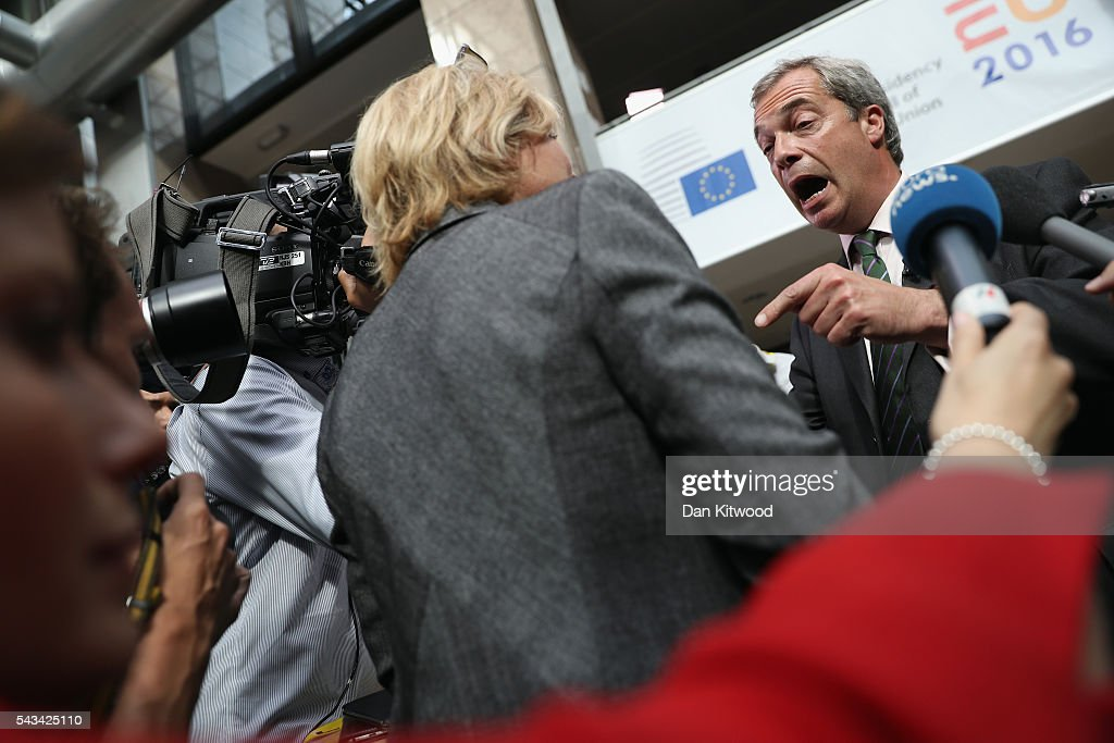 UK Independence Party (UKIP) leader Nigel Farage speaks to the media as he attends a European Council Meeting at the Council of the European Union on June 28, 2016 in Brussels, Belgium. British Prime Minister David Cameron will hold talks with other EU leaders in what will likely be his final scheduled meeting with the full European Council before he stands down as Prime Minister. The meetings come at a time of economic and political uncertainty following the referendum result last week which saw the UK vote to leave the European Union.