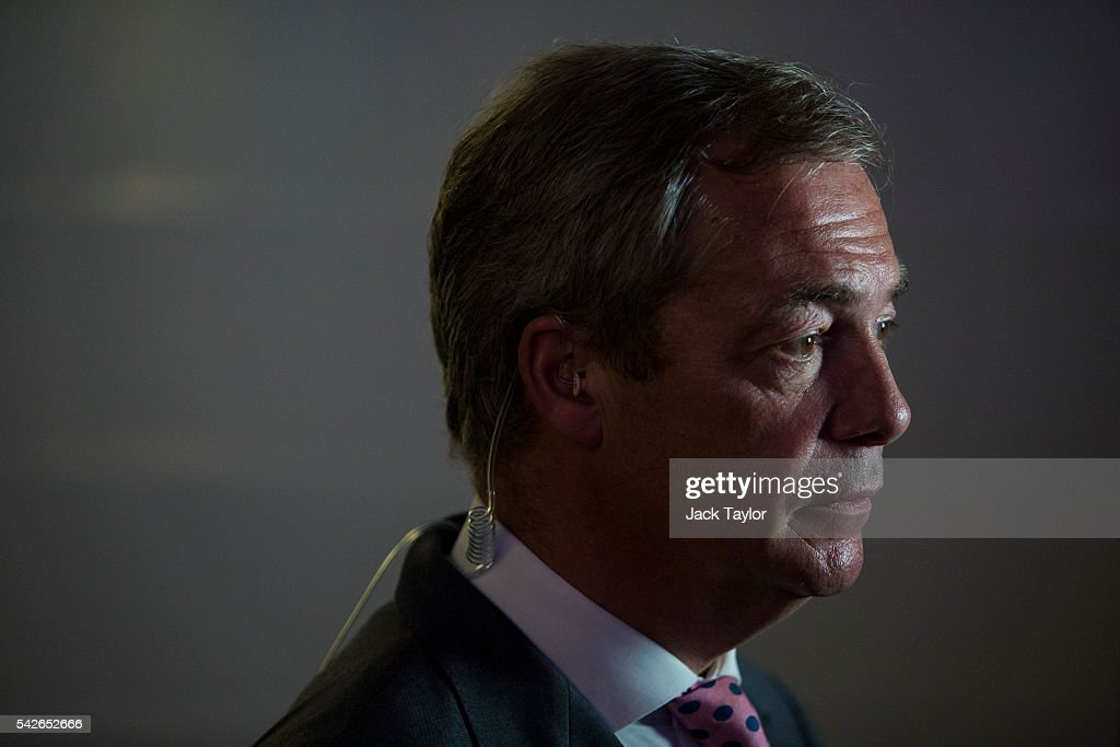 UK Independence Party Leader Nigel Farage waits to speak to media at the Leave.EU campaign's referendum party at Millbank Tower on June 23, 2016 in London, England. The United Kingdom has gone to the polls to decide whether or not the country wishes to remain within the European Union. After a hard fought campaign from both REMAIN and LEAVE the vote is too close to call. A result on the referendum is expected on Friday morning.