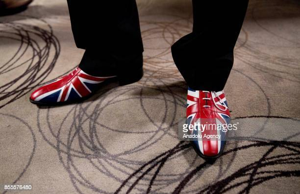 Independence Party's delegate's Union Jack themed shoes are seen during the UKIP annual conference at the Riviera International Conference Centre in...