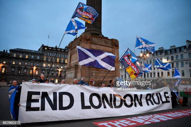 Independence supporters gather in George Square following today's announcement March 13 2017 in Glasgow Scotland Scotland's First Minister Nicola...