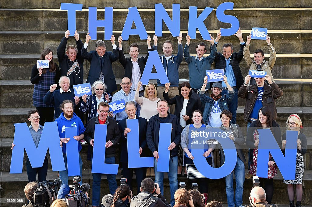 Independence supporters including Blair Jenkins and the Proclaimers attend an announcement to mark getting a million signatures to the Yes Declaration launched in 2012 on August 22, 2014 in Edinburgh, Scotland. Both camps in the referendum campaign are holding events on the first day of purdah, a 28 day period which curbs what public bodies can do during the election period.