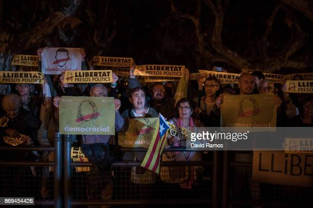 Independence supporters protest against the judge order on Catalan leaders to be held in custody in jail pending trial on November 2 2017 in...