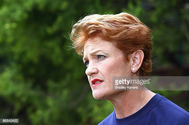 Independent candidate for Beaudesert Pauline Hanson is seen at the Boonah State Primary School during the Queensland State elections on March 21 2009...