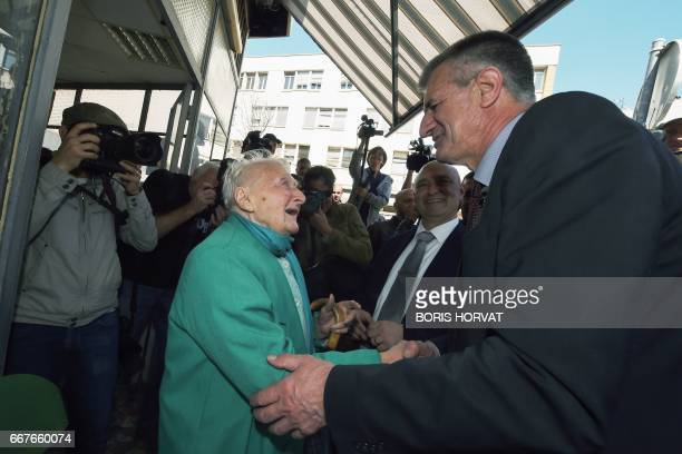 Independent candidate for the 2017 presidential elections Jean Lassalle shakes hands with a woman during his visit in Marseille southern France on...