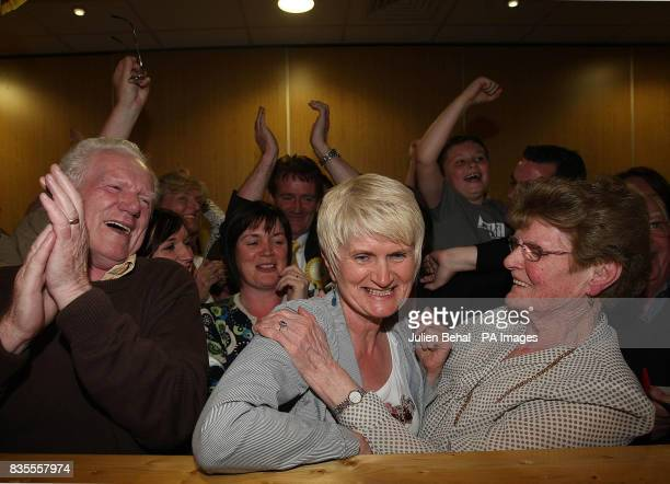 Independent Candidate Marian Harkin celebrating with supporters after the results of the first count in the European Parliamentary Elections for the...