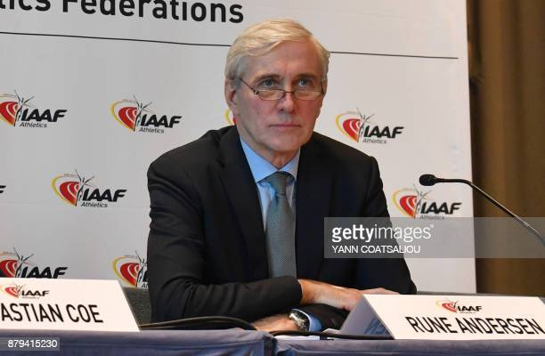 Independent chairperson of the IAAF Taskforce for Russia Rune Andersen adresses a press conference in Monaco on November 26 2017 The world governing...