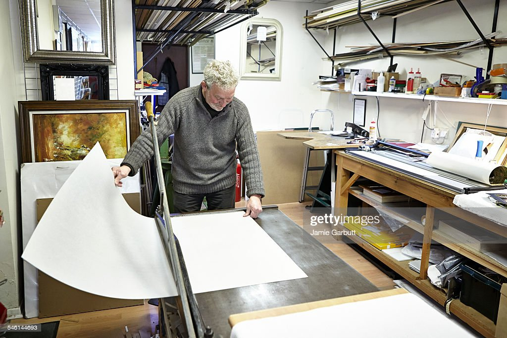 Independent Male Business Owner Making Frames Stock Photo ...