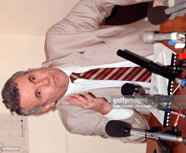 Independent MP Martin Bell explains his position at a packed press conference held in his Knutsford Cheshire constituency today after claims that a...