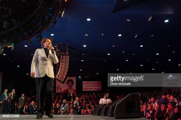 Independent MP Meral Aksener speaks to supporters during a 'Hayir' campaign rally on March 28 2017 in Istanbul Turkey Campaigning by both the 'Hayir'...