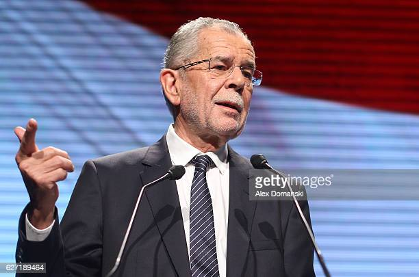 Independent presidential candidate Alexander van der Bellen speaks to supporters at his final election campaign rally on December 2 2016 in Vienna...