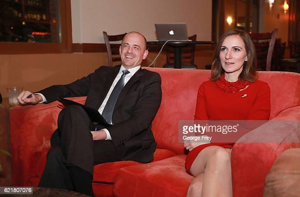 S independent presidential candidate Evan McMullin and his running mate Mindy Finn watches election results in a backroom at an election night party...