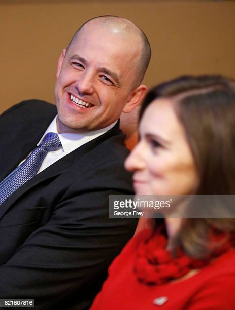 S independent presidential candidate Evan McMullin and his running mate Mindy Finn react to election results in a backroom at an election night party...