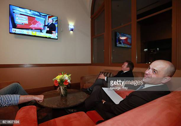 S independent presidential candidate Evan McMullin and his staff watches election results in a backroom at an election night party on November 8 2016...