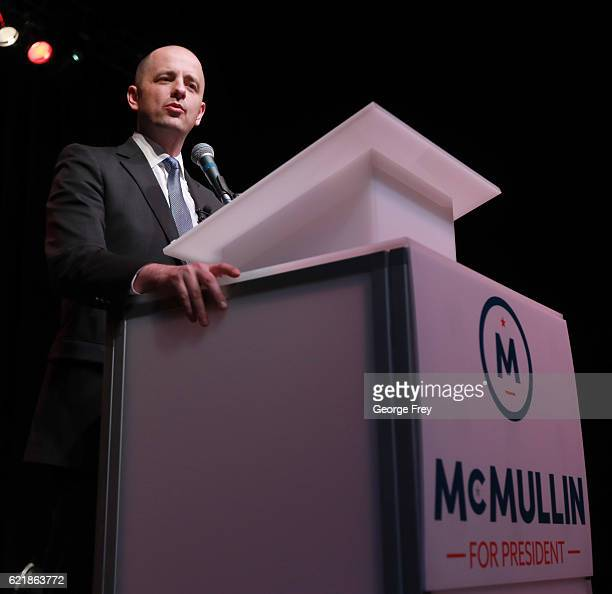 S Independent presidential candidate Evan McMullin speak to supporters at an election night party on November 8 2016 in Salt Lake City Utah...