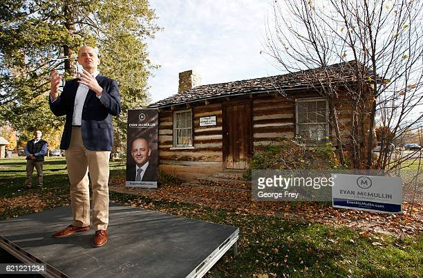 S independent presidential candidate Evan McMullin talks to supporters that have gathered for a rally at a city park on November 5 2016 in Nephi Utah...