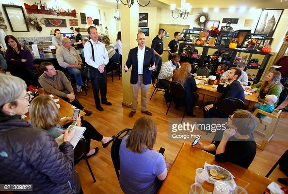 S independent presidential candidate Evan McMullin talks to supporters at the Brick House Cafe on November 5 2016 in Cedar City Utah McMullin is...